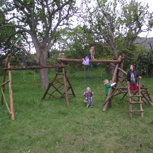 natural wooden jungle gym