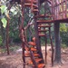 wooden ladder into treehouse